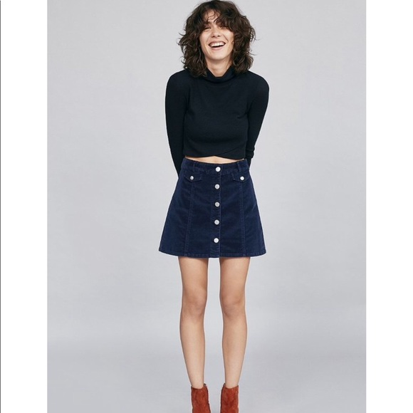 dca219315 BDG corduroy button front mini skirt navy blue. M_5a7f66fa9d20f03484a6ade7